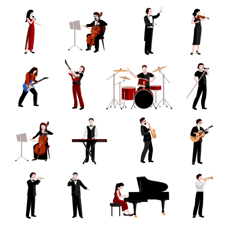 Musicians icons with vector illustrations